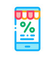 phone percent message icon outline vector image