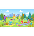 Picnicking happy lifestyle park together vector image vector image
