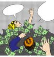 pop art sinking in money vector image vector image