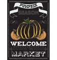 Poster with a pumpkin theme on the market vector image vector image