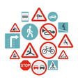 road sign set icons flat style vector image vector image