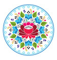 russian folk art pattern - round floral design vector image
