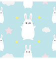 seamless pattern rabbit hare head hands cloud vector image