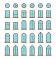 Set of different icons window and windowpane types vector image vector image