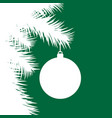 silhouette of fir christmas tree and decorative vector image