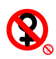 Stop women It is forbidden to be woman Frozen vector image