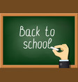 teacher is writing chalk on blackboard vector image vector image