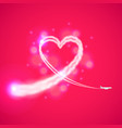 trail plane like heart background vector image vector image