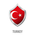 turkey flag on metal shiny shield vector image