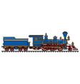 vintage blue american steam locomotive vector image vector image