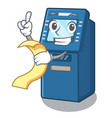 with menu atm machine next to character table vector image vector image