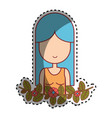 woman peace and love relax vector image vector image