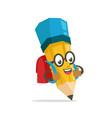 yellow school boy pencil mascot character vector image vector image