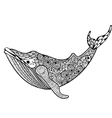 Zentangle stylized Sea Whale Hand Drawn isolated vector image vector image