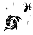 black silhouette of pisces are on white vector image