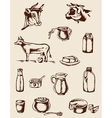 Dairy products and cow vector image