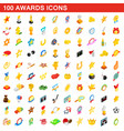 100 awards icons set isometric 3d style vector image vector image