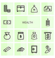 14 wealth icons vector image vector image