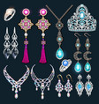 a jewelry set with a chain with a pendant vector image vector image