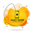 black mobile phone and shopping cart icon isolated vector image vector image