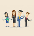 business people group using phones and internet vector image