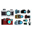 camera icon set retro vintage modern vector image