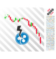 candlestick chart ripple crash flat icon with vector image vector image