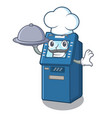 chef with food atm machine next to character table vector image vector image