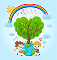 children earth rainbow vector image