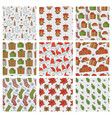 christmas and new year seamless patterns vector image