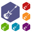 classical electric guitar icons set hexagon vector image vector image