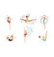 colection gymnast women performing rhythmic vector image vector image