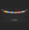 congrats banner party flags with confetti black vector image
