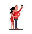 couple making selfie vector image
