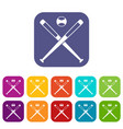crossed baseball bats and ball icons set flat vector image vector image
