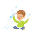 cute little boy playing with rocket toy kids vector image vector image