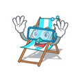 diving beach chair character cartoon vector image