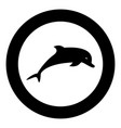 dolphin icon black color in circle vector image vector image