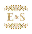 e and s vintage initials logo symbol vector image