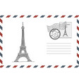 envelope with hand drawn eiffel tower vector image vector image
