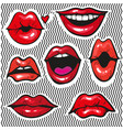 fashion patch badges with lips pop art vector image vector image