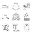 fashion winter clothes icon set outline style vector image vector image