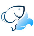 fish silhouette on a wave vector image vector image