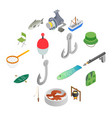 fishing isometric 3d icons set vector image vector image