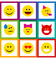 flat icon emoji set of pouting party time vector image vector image
