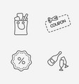 gift flat contour shop icon set on white vector image