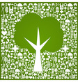 Green tree shape over eco icons background vector image vector image