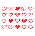 hand drawn scribble hearts painted heart shaped vector image vector image