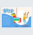 happy boy breaking pinata with a baseball bat vector image vector image