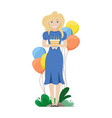 happy woman with birthday cake in her hands vector image vector image
